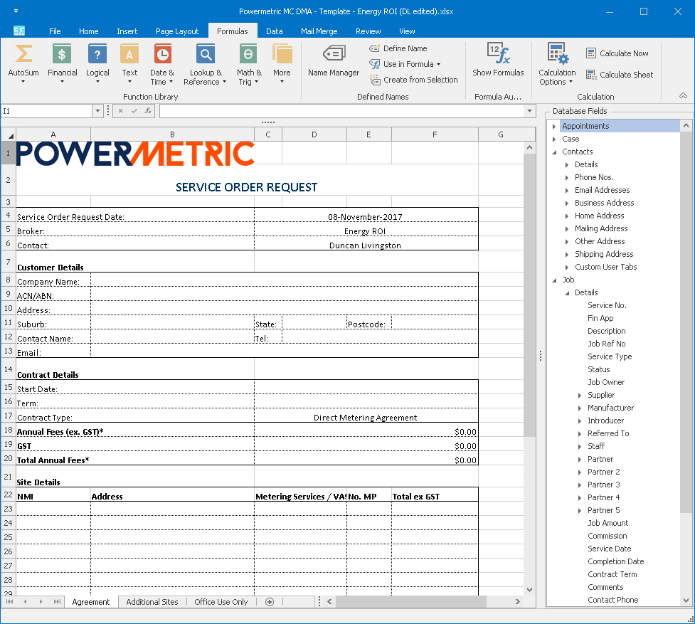 Excel Like Template Editor. Add your database fields directly to the 3GB Excel Like Editor